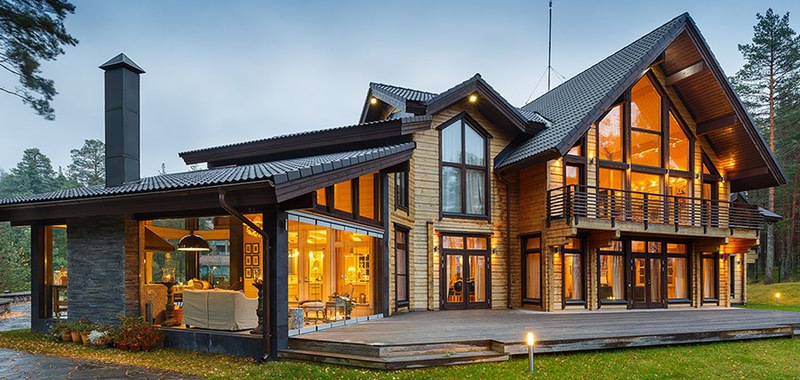 деревянный дом установка